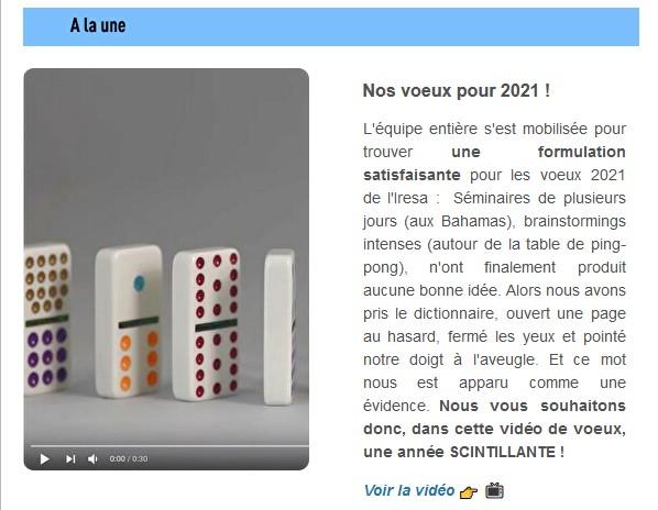 ACTU   Le FIL de Janvier 2021